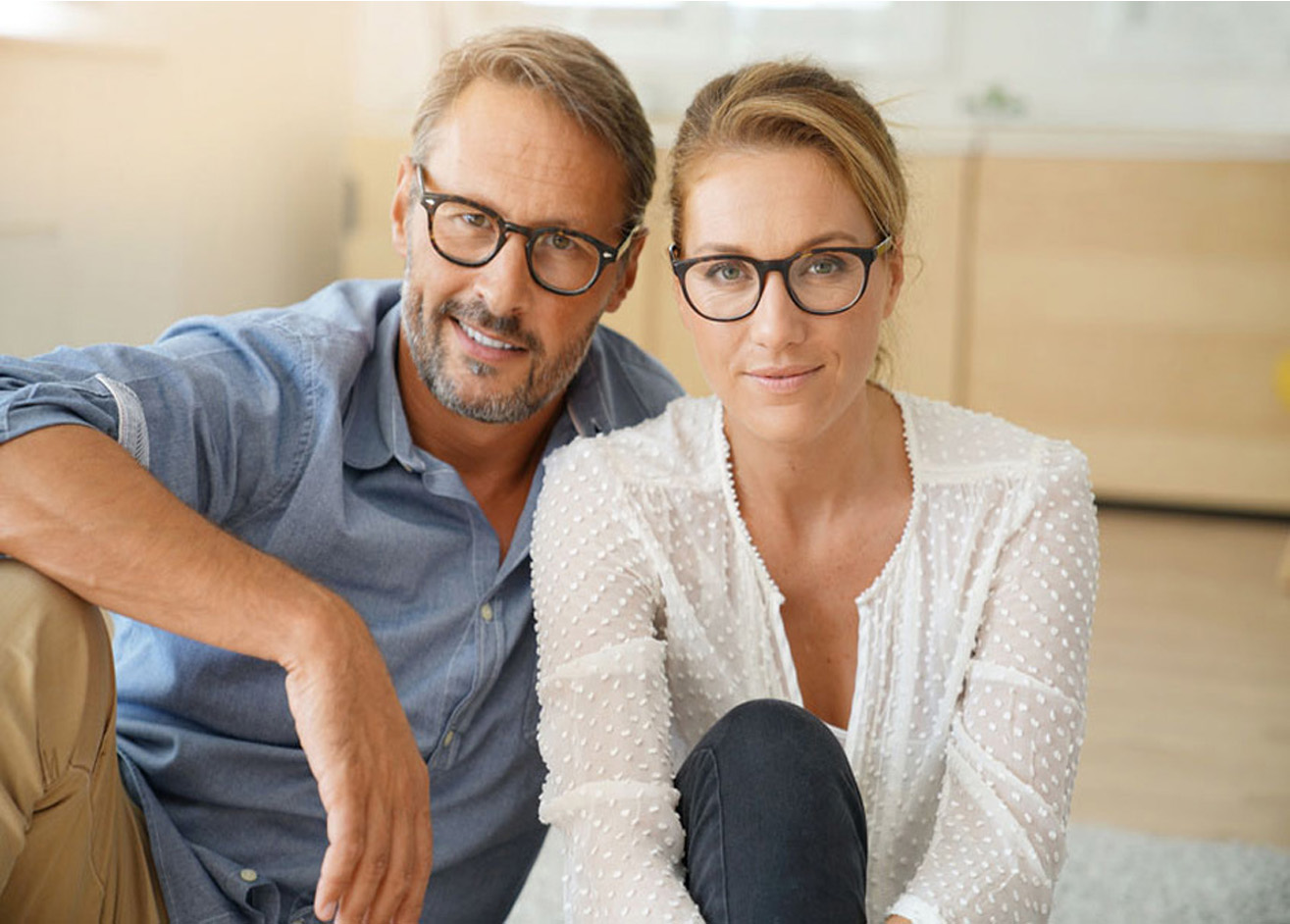 couple frames glasses showing products exavue optometrist paris optician